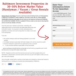 Investment Properties Buyer List - Baltimore Wholesale Property