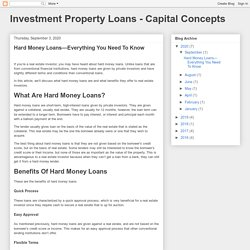 Investment Property Loans - Capital Concepts: Hard Money Loans—Everything You Need To Know