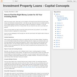Investment Property Loans - Capital Concepts: How to Find the Right Money Lender for All Your Investing Needs