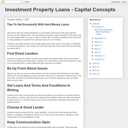 Investment Property Loans - Capital Concepts: Tips To Get Successful With Hard Money Loans