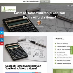 Costs of Homeownership: The Real Costs Of Owning A Home