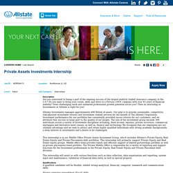 Private Assets Investments Internship - Northbrook, IL - Allstate Careers