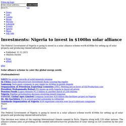 Investments: Nigeria to invest in $100bn solar alliance