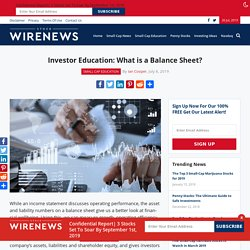 Investor Education: What is a Balance Sheet?