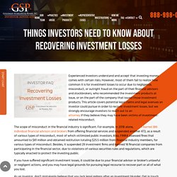 Investor Resources: How to recover investment losses