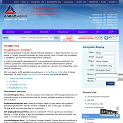 Investor Visa Investor Visa USA UK Investor Visa