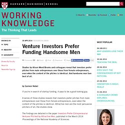 Venture Investors Prefer Funding Handsome Men