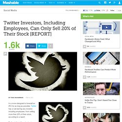 Twitter Investors, Including Employees, Can Only Sell 20% of Their Stock [REPORT]