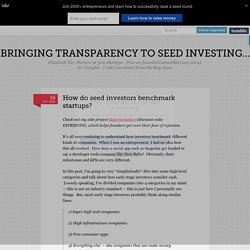 How do seed investors benchmark startups? - Bringing transparency to seed investing...