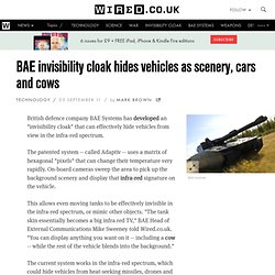 BAE invisibility cloak hides vehicles as scenery, cars and cows