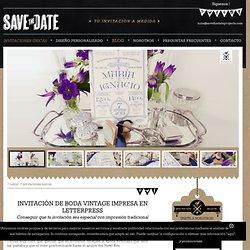 Invitaciones de boda vintage con impresión tradicional o letterpress.