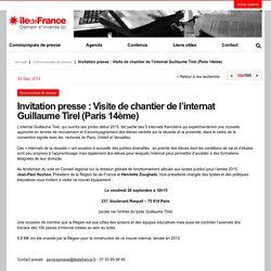 Invitation presse : Visite de chantier de l'internat Guillaume Tirel (Paris 14ème)