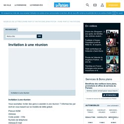 Invitation à une réunion - Modèles de Lettres - Le Parisien