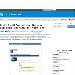 "Invite Email Contacts to Like your Facebook Page with ""Tell your Fans"""