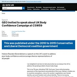 GEO invited to speak about UK Body Confidence Campaign at CSW59