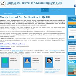 Thesis Invited for Publication in IJAR - Open access Journal