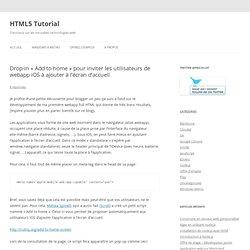 Drop-in «Add to home» pour inviter les utilisateurs de webapp iOS à ajouter à l'écran d'accueil
