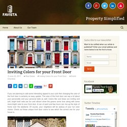 Inviting Colors for your Front Door - Favista Real Estate Blog