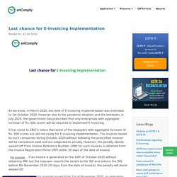 Last chance for E-Invoicing Implementation