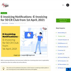 E-invoicing Notifications -E-Invoice System to GO-LIVE from 1st Oct, 2020