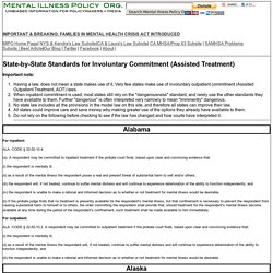 Involuntary Treatment Civil Commitment Standards