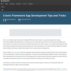 5 Ionic App Development Tips and Tricks