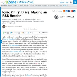 Ionic 2 First Drive: Making an RSS Reader