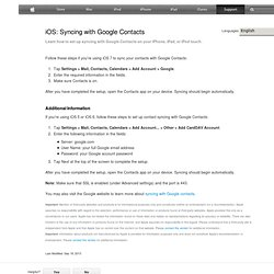 iTunes: Syncing address book contacts with your Google contacts