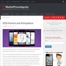 iOS9: Rumors and Anticipations