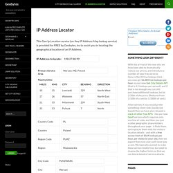 IP Address Locator - Enter an IP address to find its location - Lookup Country Region City etc