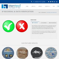 IP Recordal and data Verification service by Menteso