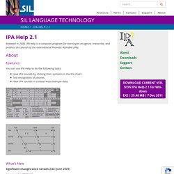 IPA Help 2.1 - SIL Language Technology
