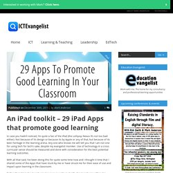 An iPad toolkit - 29 iPad Apps that promote good learning