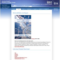 IPCC SRREN: Full Report — SRREN