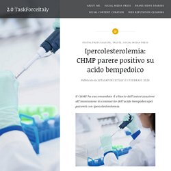 Ipercolesterolemia: CHMP parere positivo su acido bempedoico