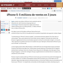 iPhone 5 : 5 millions de ventes en 3 jours