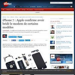 iPhone 7 : Apple confirme avoir bridé le modem de certains modèles - ZDNet