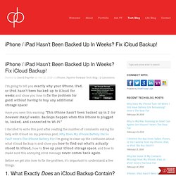 iPhone / iPad Hasn't Been Backed Up In Weeks? Fix iCloud Backup!