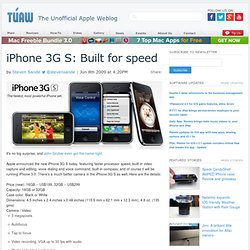 iPhone 3G S: Built for speed