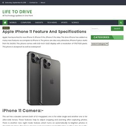 Apple iPhone 11 Features and Specifications