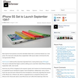 : iPhone 5S Set to Launch September 10th? -