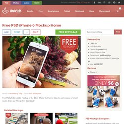 Free PSD iPhone 6 Mockup Home