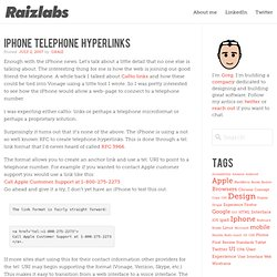 iPhone Telephone Hyperlinks