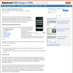 How to Detect Mobile Devices Hitting Your Web Pages