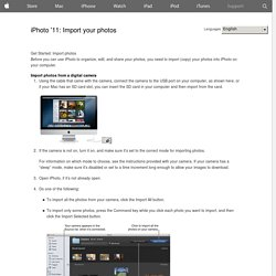 iPhoto '11: Import your photos