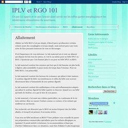 IPLV et RGO 101: Allaitement