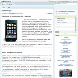 ipodgamesforlearning / FrontPage