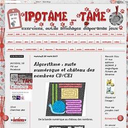 Algorithme : suite numérique et château des nombres CP/CE1