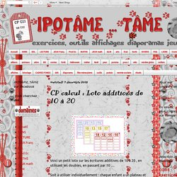 IPOTÂME ....TÂME: CP calcul : Loto additions de 10 à 20