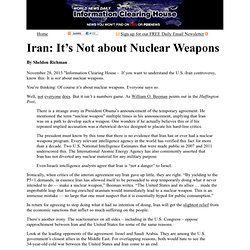 Iran: It's Not about Nuclear Weapons